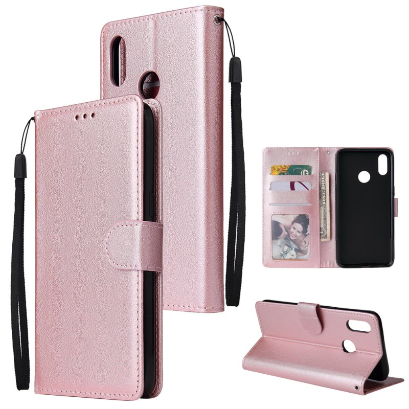 For OPPO Realme 3 Wallet-type PU Leather Protective Phone Case with Buckle & 3 Card Position Rose gold