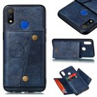 For OPPO Realme 3 pro PU Leather Flip Stand Shockproof Cell Phone Cover Double Buckle Anti-dust Case With Card Slots Pocket blue