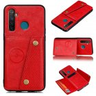 For OPPO Realme 5/5 Pro Mobile Phone Shell Buckle Closure Wallet Design Overall Protective Smartphone Cover  red