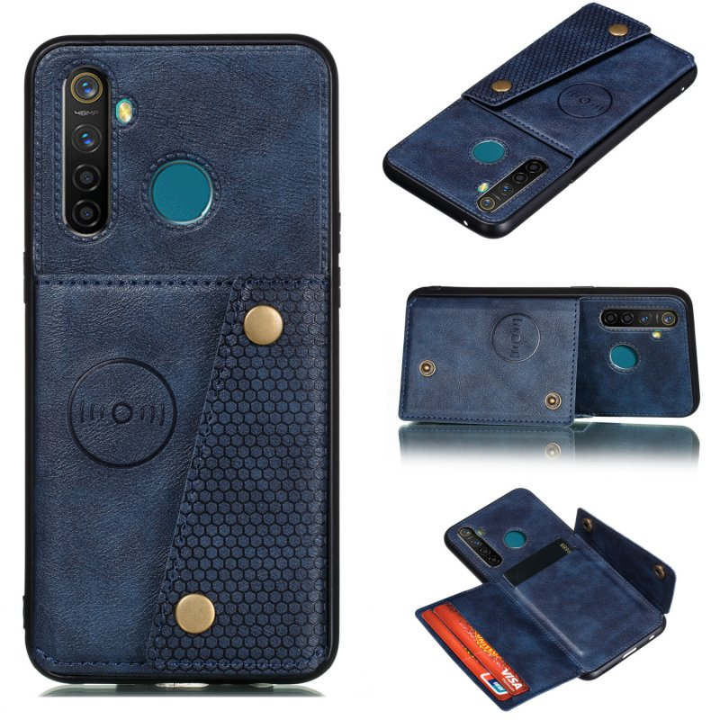 For OPPO Realme 5/5 Pro Mobile Phone Shell Buckle Closure Wallet Design Overall Protective Smartphone Cover  blue