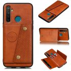 For OPPO Realme 5 5 Pro Mobile Phone Shell Buckle Closure Wallet Design Overall Protective Smartphone Cover  brown