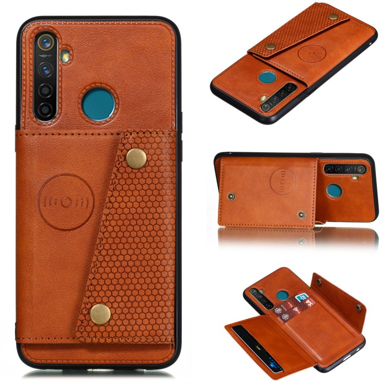 For OPPO Realme 5/5 Pro Mobile Phone Shell Buckle Closure Wallet Design Overall Protective Smartphone Cover  brown