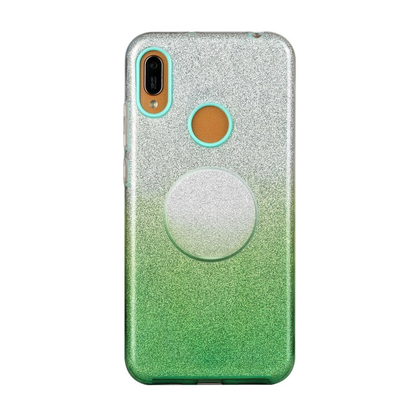 For OPPO Realme 5/Realme 5 Pro/A5 2020/A9 2020/A52/A92 Phone Case Gradient Color Glitter Powder Phone Cover with Airbag Bracket green