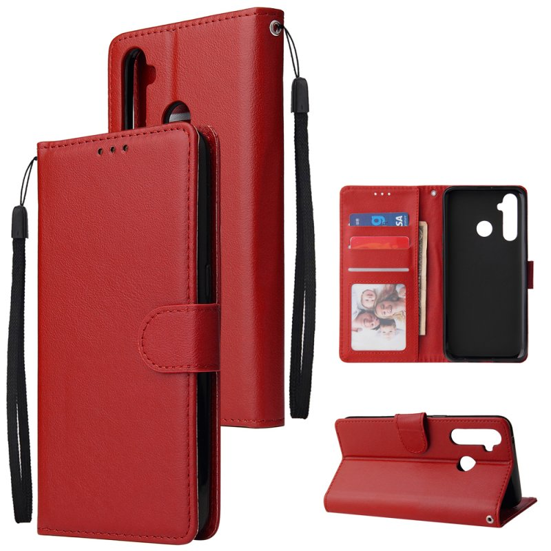 For OPPO Realme 5 Rro Cellphone Cover Buckle Closure Cards Holder Wallet Design Stand Function PU Leather Smart Shell Overall Protection  red