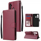 For OPPO Realme 5 Rro Cellphone Cover Buckle Closure Cards Holder Wallet Design Stand Function PU Leather Smart Shell Overall Protection  wine red