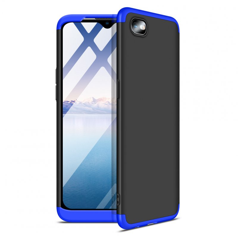 For OPPO Realme C2 Ultra Slim PC Back Cover Non-slip Shockproof 360 Degree Full Protective Case Blue black blue