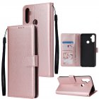 For OPPO Realme C3/Realme 6 PU Leather Mobile Phone Cover with 3 Cards Slots Phone Frame Rose gold