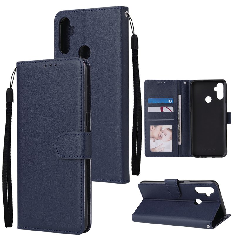 For OPPO Realme C3/Realme 6 PU Leather Mobile Phone Cover with 3 Cards Slots Phone Frame blue