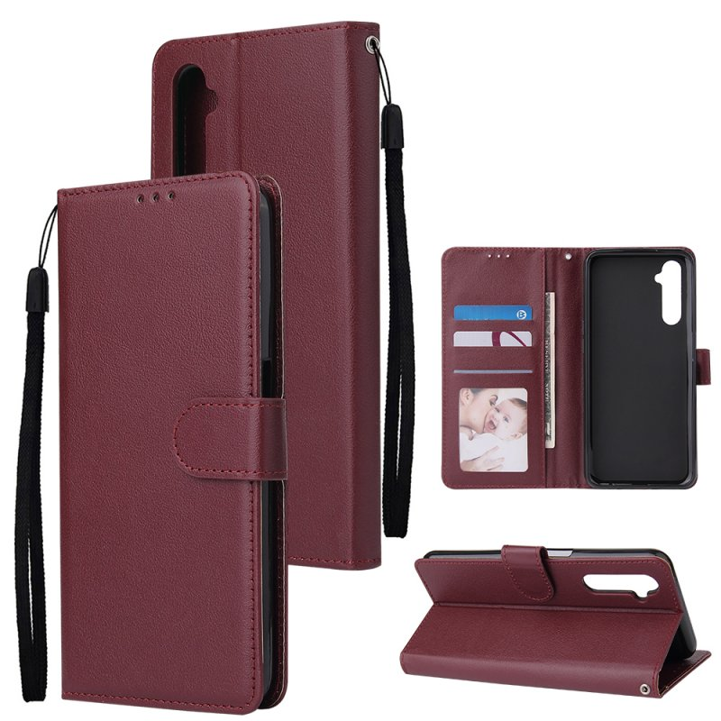 For OPPO Realme C3/Realme 6 PU Leather Mobile Phone Cover with 3 Cards Slots Phone Frame wine red