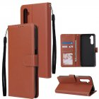 For OPPO Realme C3 Realme 6 PU Leather Mobile Phone Cover with 3 Cards Slots Phone Frame brown