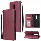 For Oppo A9 2020/Reno 2Z Cellphone Shell PU Leather Mobile Phone Cover Stand Available Anti-drop Elegant Smartphone Case Wine red