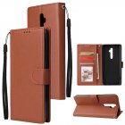 For Oppo A9 2020 Reno 2Z Cellphone Shell PU Leather Mobile Phone Cover Stand Available Anti drop Elegant Smartphone Case Brown