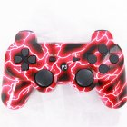 For PS3 Wireless Bluetooth Hydrographics Transfer Printing Gamepad Game Controller Red lightning