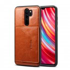 For Red Mi NOTE 8 8 Pro Cellphone Smart Shell 2 in 1 Textured PU Leather Card Holder Stand viewing Overall Protection Case brown