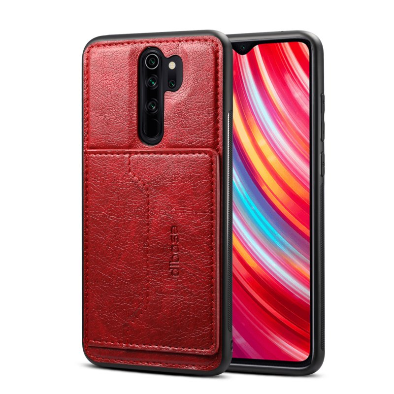 For Red Mi NOTE 8/8 Pro Cellphone Smart Shell 2-in-1 Textured PU Leather Card Holder Stand-viewing Overall Protection Case red