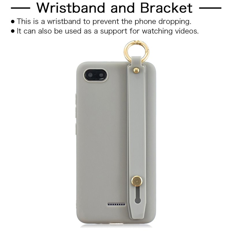 For Redmi 6A Simple Solid Color Chic Wrist Rope Bracket Matte TPU Anti-scratch Non-slip Protective Cover Back Case 12 gray