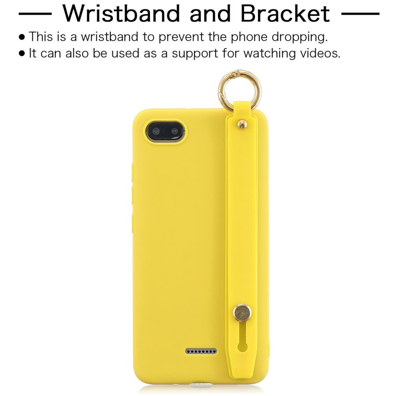 For Redmi 6A Simple Solid Color Chic Wrist Rope Bracket Matte TPU Anti-scratch Non-slip Protective Cover Back Case 3 yellow