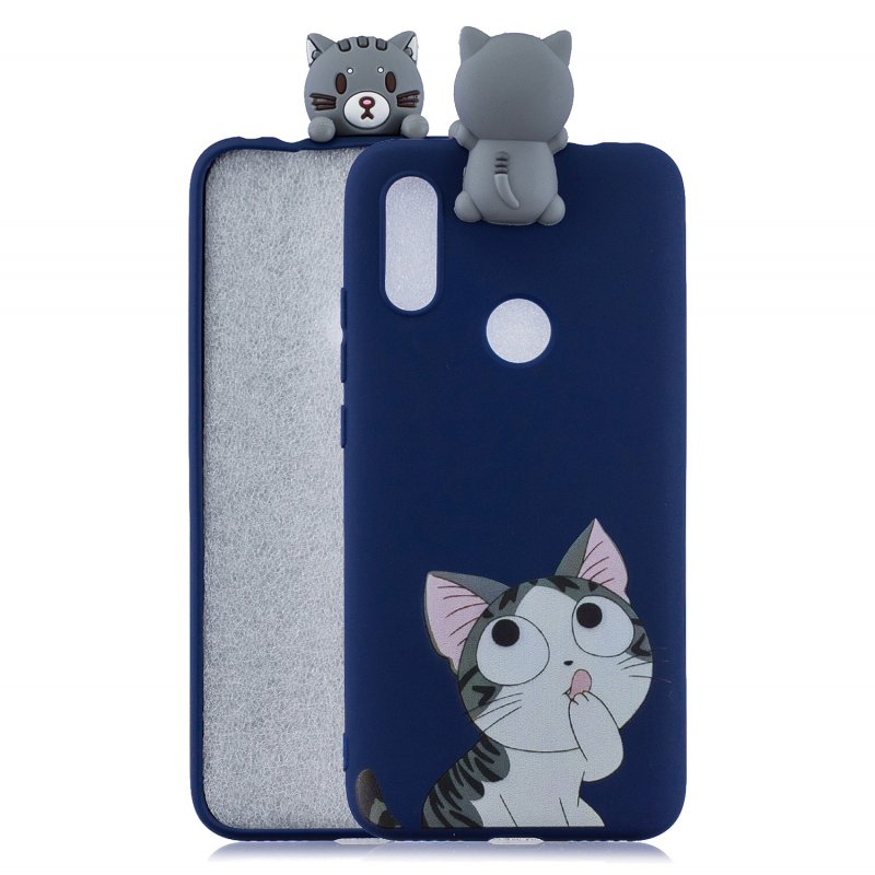For Redmi 7 3D Cartoon Lovely Coloured Painted Soft TPU Back Cover Non-slip Shockproof Full Protective Case big face cat