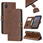 For Redmi 7A Denim Pattern Solid Color Flip Wallet PU Leather Protective Phone Case with Buckle & Bracket brown