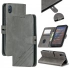 For Redmi 7A Denim Pattern Solid Color Flip Wallet PU Leather Protective Phone Case with Buckle & Bracket gray