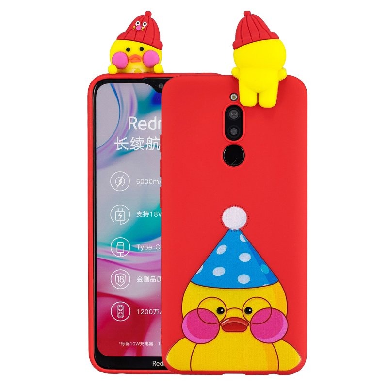 For Redmi 8/8A/5/Note 8T Mobile Phone Case Cute Cellphone Shell Soft TPU Cover with Cartoon Pig Duck Bear Kitten Lovely Pattern Red