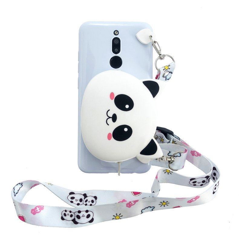 For Redmi 8/Redmi 8A Case Mobile Phone Shell Shockproof Cellphone TPU Cover with Cartoon Cat Pig Panda Coin Purse Lovely Shoulder Starp  White