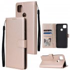For Redmi 9A/Redmi 9C PU Leather Mobile Phone Cover with 3 Cards Slots Phone Frame Golden