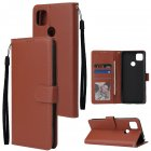 For Redmi 9A/Redmi 9C PU Leather Mobile Phone Cover with 3 Cards Slots Phone Frame brown