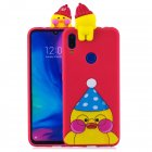 For Redmi NOTE 7 3D Cute Coloured Painted Animal TPU Anti scratch Non slip Protective Cover Back Case red