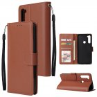 For Redmi NOTE 8 PU Leather Front Putton Protective Phone Case with 3 Cards Bracket brown