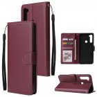 For Redmi NOTE 8 PU Leather Front Putton Protective Phone Case with 3 Cards Bracket Red wine