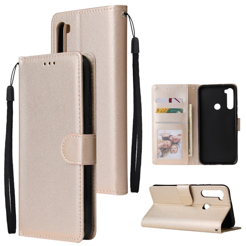For Redmi NOTE 8 PU Leather Front Putton Protective Phone Case with 3 Cards Bracket Gold