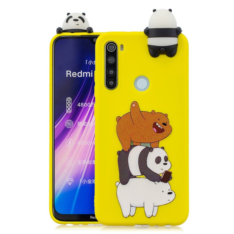 For Redmi NOTE 8T 3D Cartoon Painting Back Cover Soft TPU Mobile Phone Case Shell Striped bear