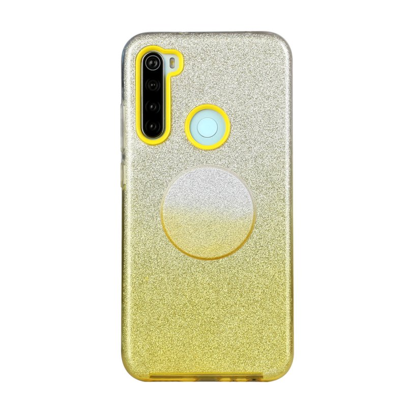 For Redmi Note 7/Note 7 pro/Note 8/Note 8 pro/8/8A Phone Case Gradient Color Glitter Powder Phone Cover with Airbag Bracket yellow