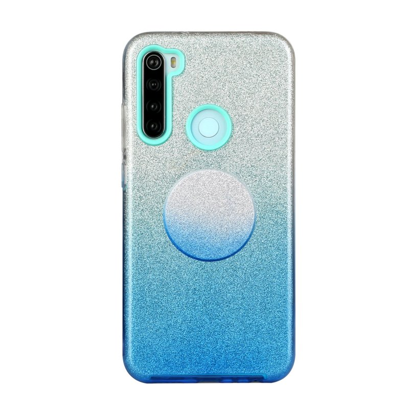 For Redmi Note 7/Note 7 pro/Note 8/Note 8 pro/8/8A Phone Case Gradient Color Glitter Powder Phone Cover with Airbag Bracket blue