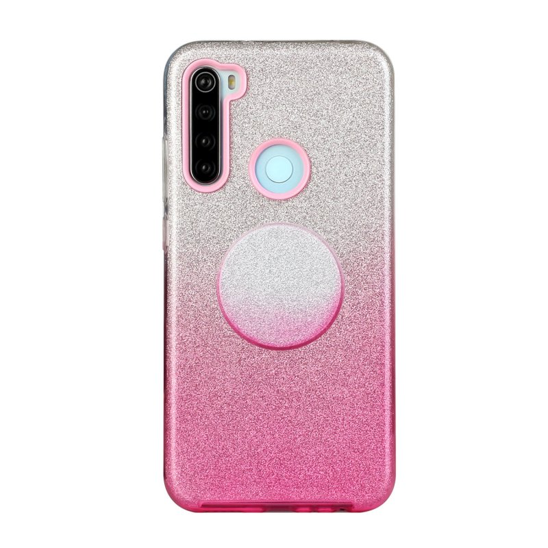 For Redmi Note 7/Note 7 pro/Note 8/Note 8 pro/8/8A Phone Case Gradient Color Glitter Powder Phone Cover with Airbag Bracket Pink