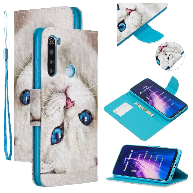 For Redmi Note 8/8 Pro Cellphone Cover Stand Function Wallet Design PU Leather Smartphone Shell Elegant Pattern Printed  Blue eyes cat