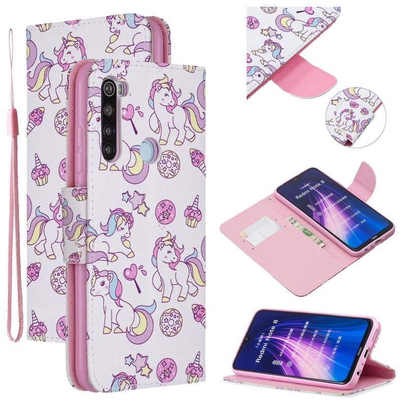 For Redmi Note 8/8 Pro Cellphone Cover Stand Function Wallet Design PU Leather Smartphone Shell Elegant Pattern Printed  Ice cream unicorn