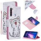 For Redmi Note 8/8 Pro Cellphone Cover Stand Function Wallet Design PU Leather Smartphone Shell Elegant Pattern Printed  Red lip cat
