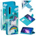 For Redmi Note 8/8 Pro Cellphone Cover Stand Function Wallet Design PU Leather Smartphone Shell Elegant Pattern Printed  Rainbow horse