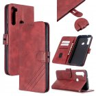 For Redmi Note 8T/Redmi 8/Redmi 8A Case Soft Leather Cover with Denim Texture Precise Cutouts Wallet Design Buckle Closure Smartphone Shell  red