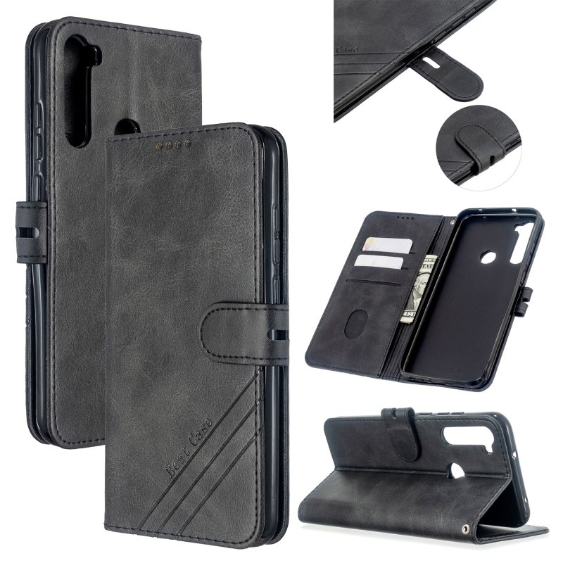 For Redmi Note 8T/Redmi 8/Redmi 8A Case Soft Leather Cover with Denim Texture Precise Cutouts Wallet Design Buckle Closure Smartphone Shell  black