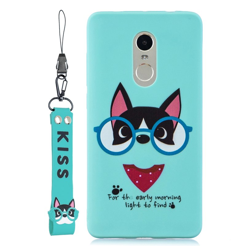 For Redmi note 4X/NOTE 4 Cartoon Lovely Coloured Painted Soft TPU Back Cover Non-slip Shockproof Full Protective Case with Lanyard Light blue