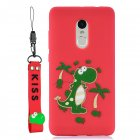 For Redmi note 4X/NOTE 4 Cartoon Lovely Coloured Painted Soft TPU Back Cover Non-slip Shockproof Full Protective Case with Lanyard red