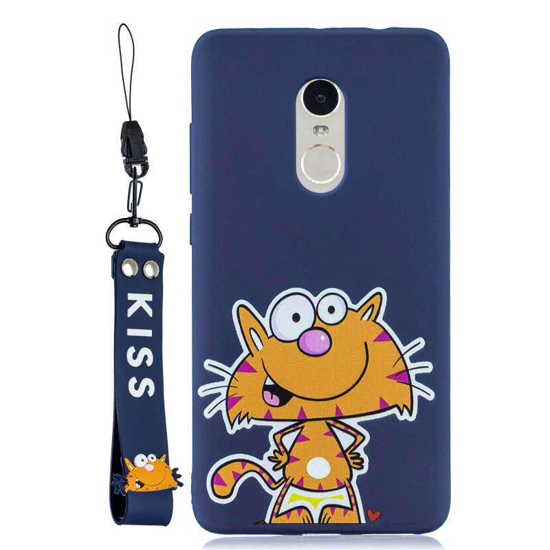 For Redmi note 4X/NOTE 4 Cartoon Lovely Coloured Painted Soft TPU Back Cover Non-slip Shockproof Full Protective Case with Lanyard sapphire