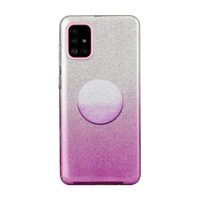 For Samsung A01/A11 European version/A31/A71 Phone Case Gradient Color Glitter Powder Phone Cover with Airbag Bracket purple
