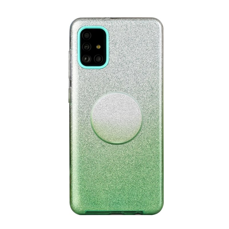 For Samsung A01/A11 European version/A31/A71 Phone Case Gradient Color Glitter Powder Phone Cover with Airbag Bracket green