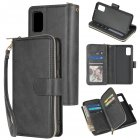 For Samsung A01/A21/A31/A41/A51 Pu Leather  Mobile Phone Cover Zipper Card Bag + Wrist Strap black