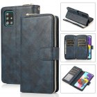 For Samsung A01/A21/A31/A41/A51 Pu Leather  Mobile Phone Cover Zipper Card Bag + Wrist Strap blue