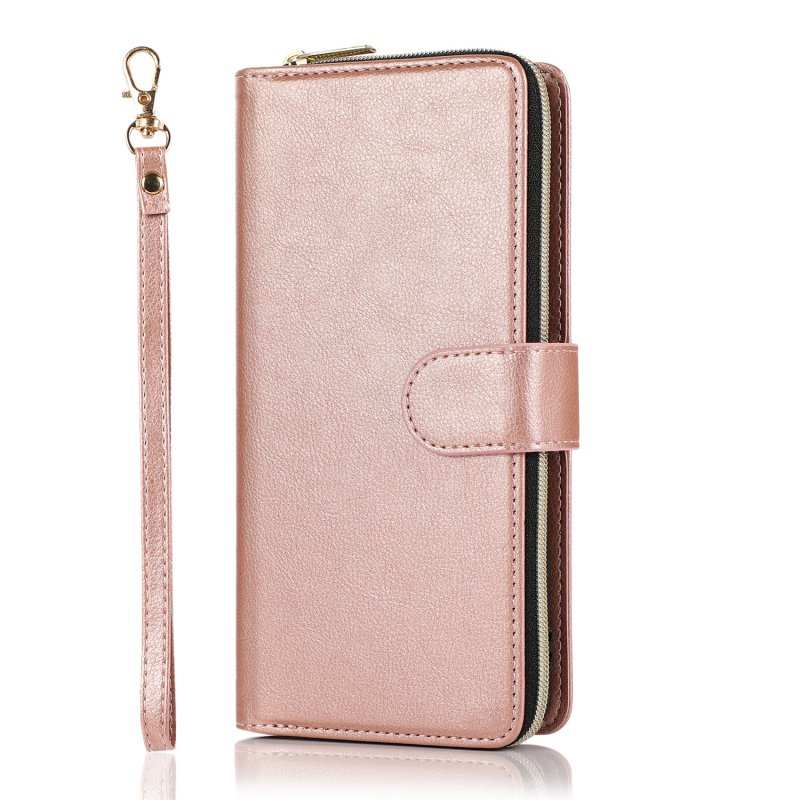 For Samsung A01/A21/A31/A41/A51 Pu Leather  Mobile Phone Cover Zipper Card Bag + Wrist Strap Rose gold
